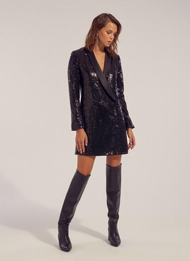 Monamoda Payetli Kruvaze Ceket Elbise Siyah